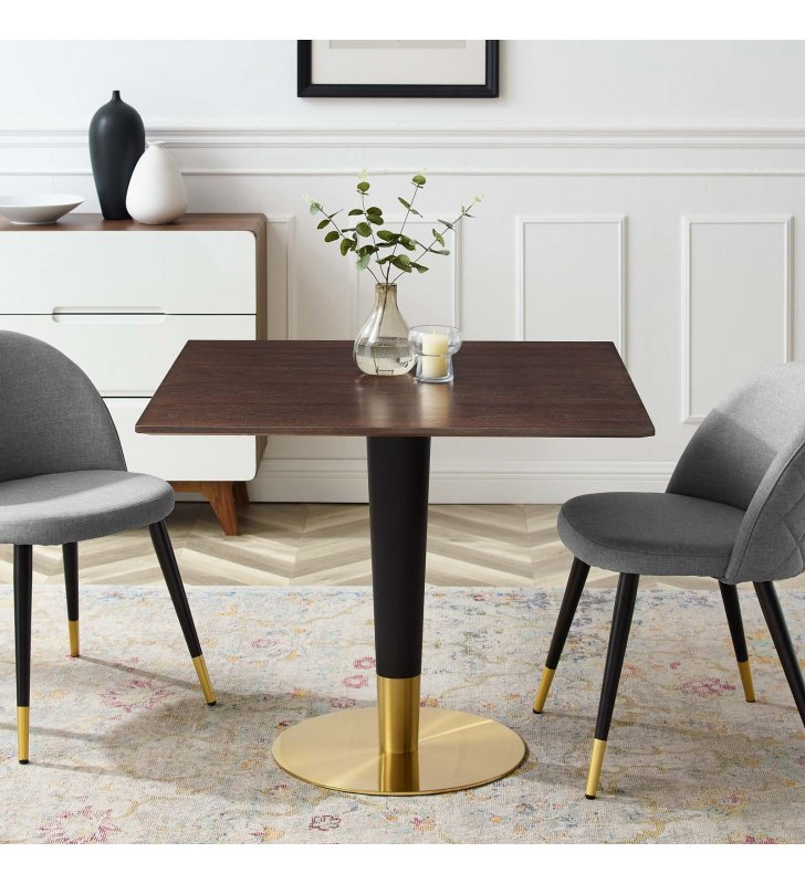"""Zinque 36"""" Square Dining Table in Gold Cherry Walnut - Lexmod"""