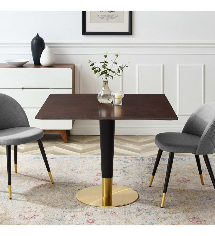 """Zinque 40"""" Square Dining Table in Gold Cherry Walnut - Lexmod"""