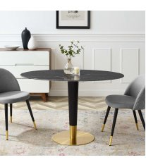 "Zinque 48"" Oval Artificial Marble Dining Table in Gold Black - Lexmod"