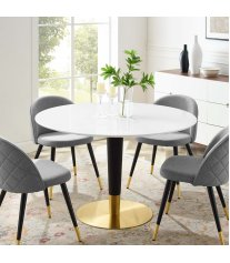 "Zinque 47"" Dining Table in Gold White - Lexmod"