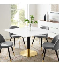 "Zinque 47"" Square Dining Table in Gold White - Lexmod"