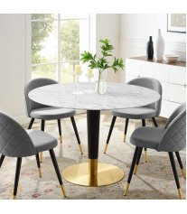 "Zinque 47"" Artificial Marble Dining Table in Gold White - Lexmod"