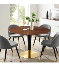 "Zinque 47"" Dining Table in Gold Walnut - Lexmod"