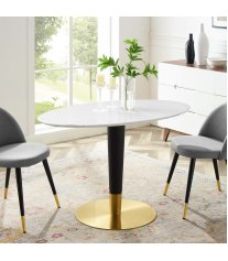 "Zinque 48"" Oval Dining Table in Gold White - Lexmod"