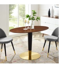 "Zinque 48"" Oval Dining Table in Gold Walnut - Lexmod"