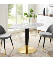 "Zinque 48"" Oval Artificial Marble Dining Table in Gold White - Lexmod"