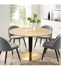 "Zinque 47"" Dining Table in Gold Natural - Lexmod"