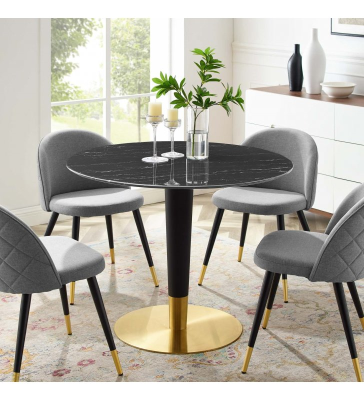 """Zinque 40"""" Artificial Marble Dining Table in Gold Black - Lexmod"""