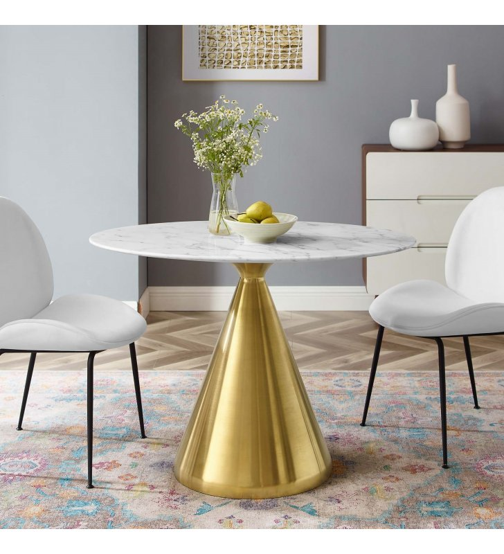 """Tupelo 42"""" Oval Artificial Marble Dining Table in Gold White - Lexmod"""
