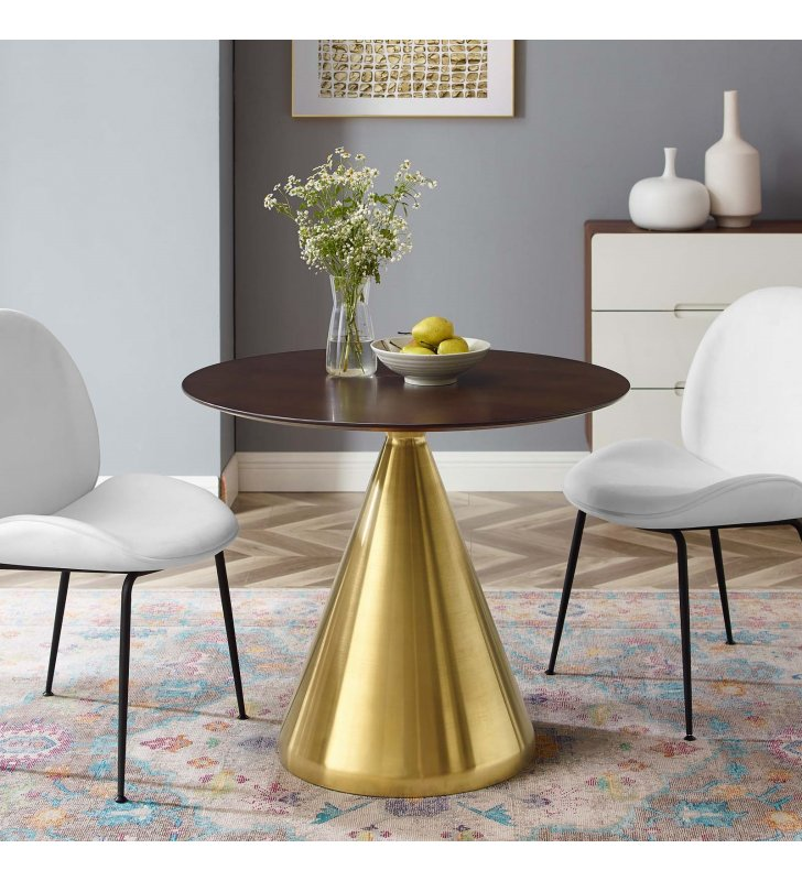 """Tupelo 36"""" Dining Table in Gold Cherry Walnut - Lexmod"""