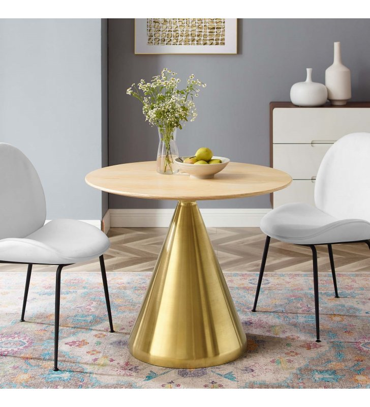 """Tupelo 36"""" Dining Table in Gold Natural - Lexmod"""