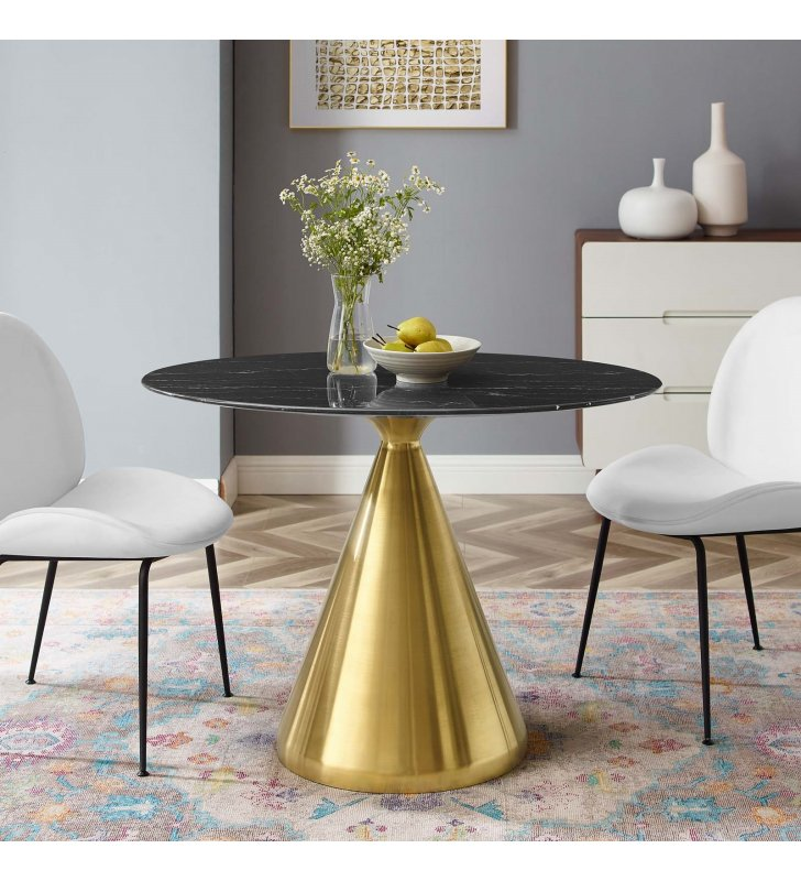 """Tupelo 42"""" Oval Artificial Marble Dining Table in Gold Black - Lexmod"""