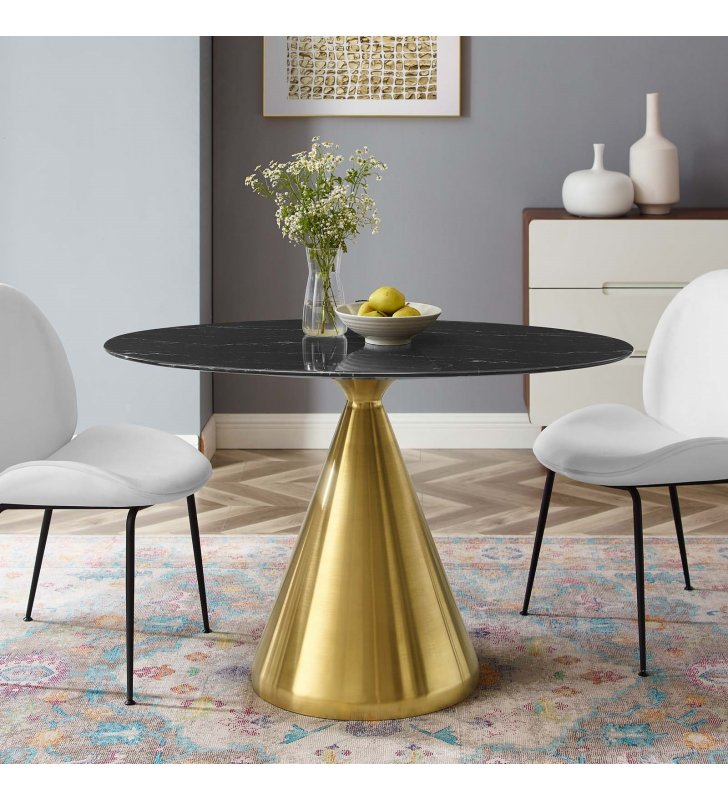 """Tupelo 48"""" Oval Artificial Marble Dining Table in Gold Black - Lexmod"""