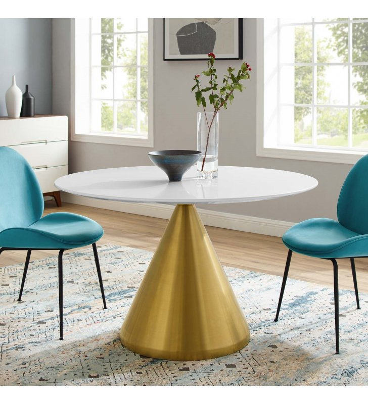 """Tupelo 47"""" Dining Table in Gold White - Lexmod"""
