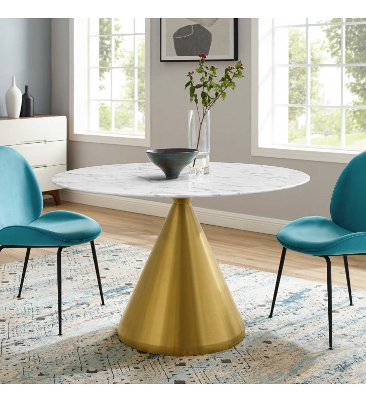 """Tupelo 47"""" Artificial Marble Dining Table in Gold White - Lexmod"""