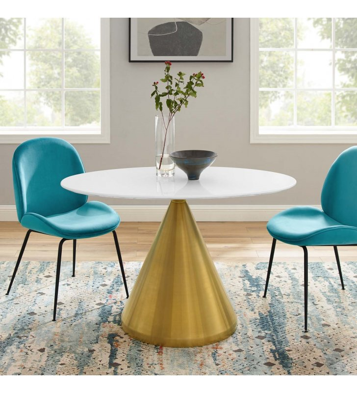 "Tupelo 48"" Oval Dining Table in Gold White - Lexmod"