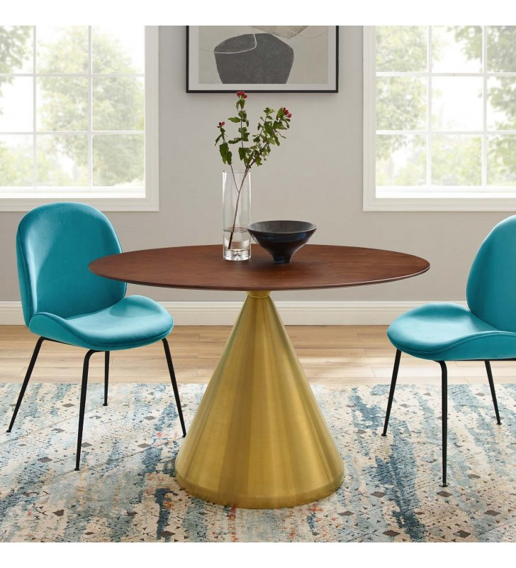 """Tupelo 48"""" Oval Dining Table in Gold Walnut - Lexmod"""