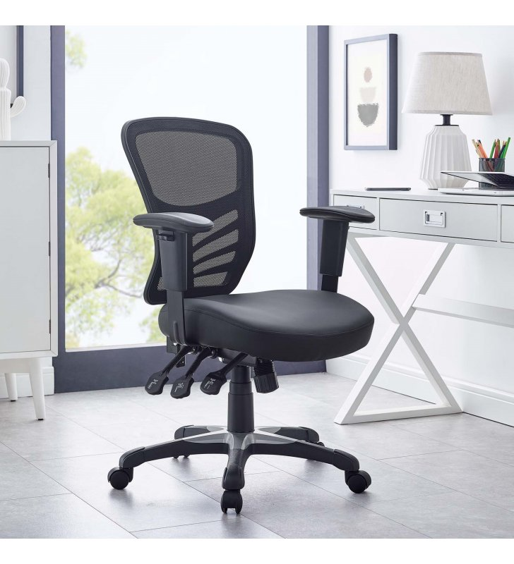 Articulate Vinyl Office Chair in Black - Lexmod