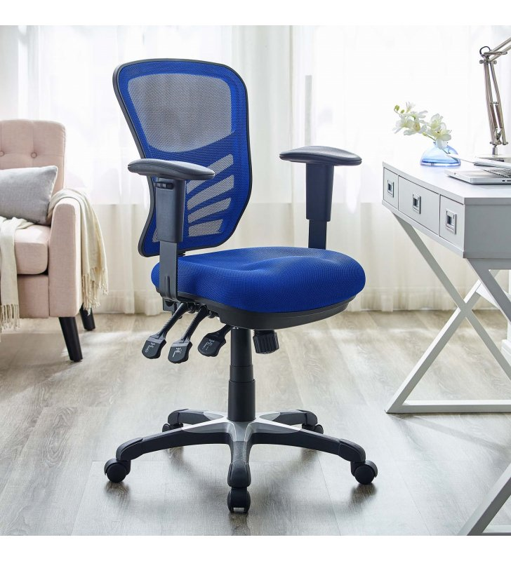 Articulate Mesh Office Chair in Blue - Lexmod