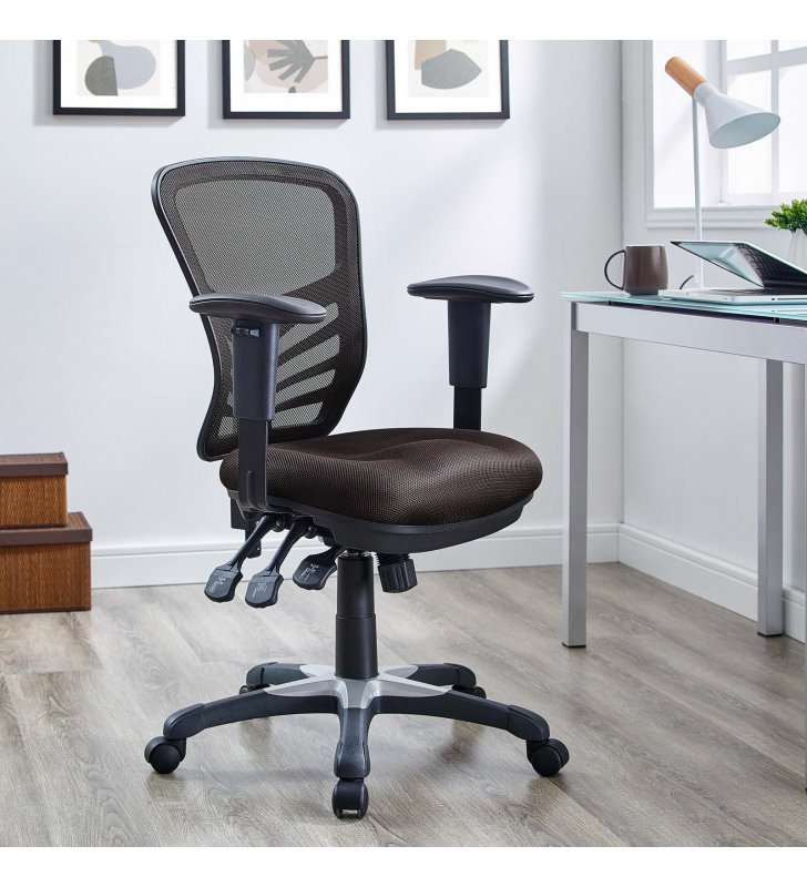 Articulate Mesh Office Chair in Brown - Lexmod