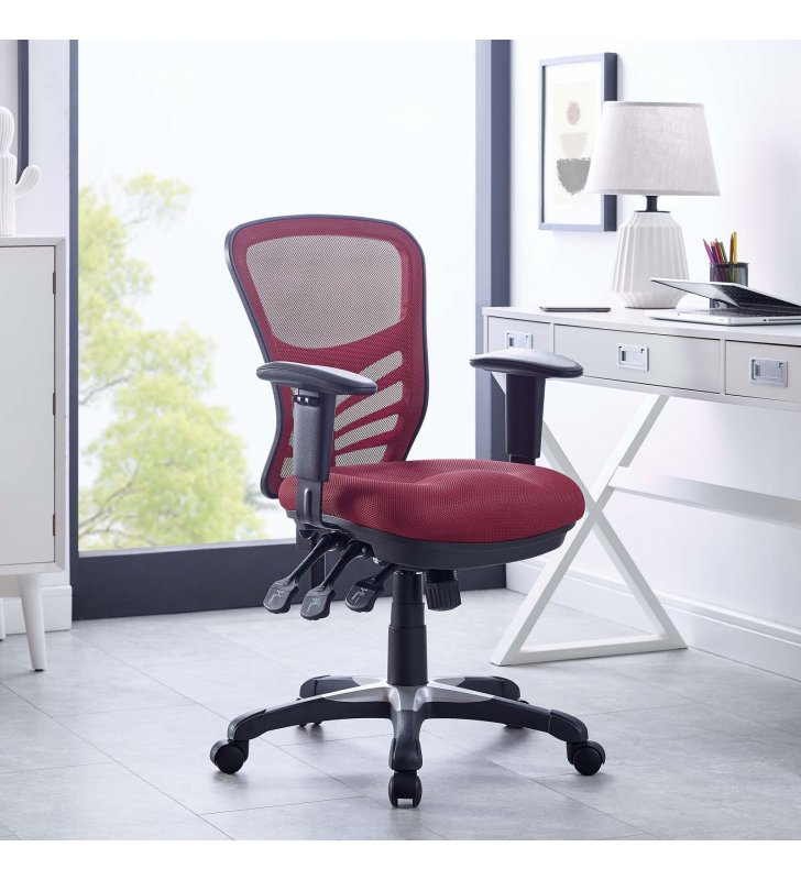 Articulate Mesh Office Chair in Red - Lexmod
