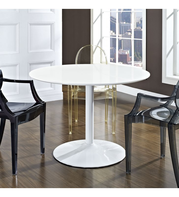 Revolve Round Wood Dining Table in White - Lexmod