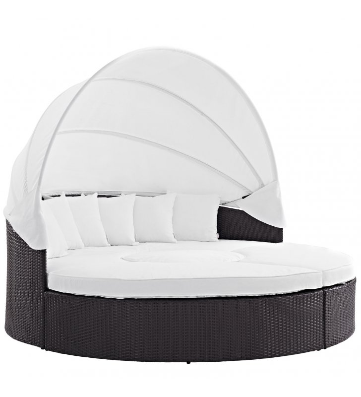 Quest Canopy Outdoor Patio Daybed in Espresso White - Lexmod