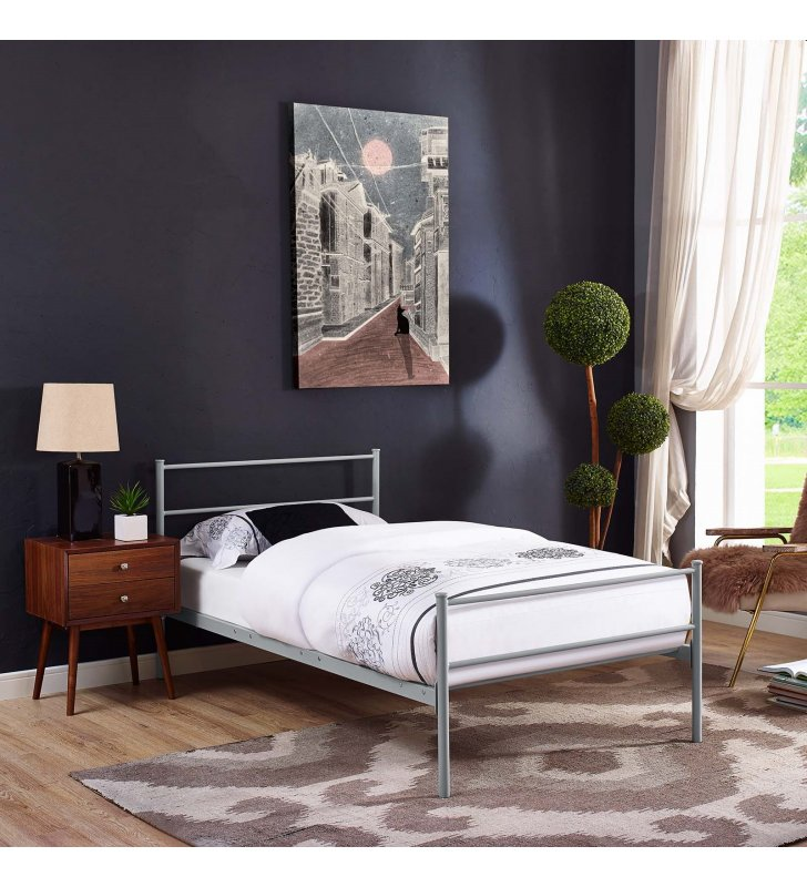 Alina Twin Platform Bed Frame in Gray - Lexmod