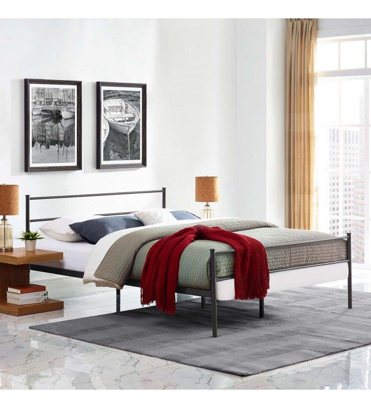 Alina Full Platform Bed Frame in Brown - Lexmod