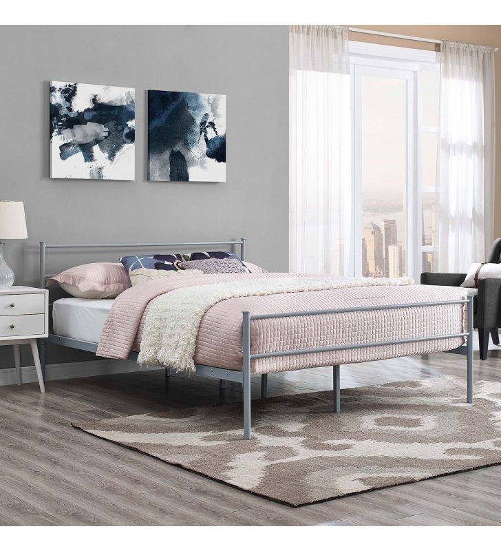 Alina Queen Platform Bed Frame in Gray - Lexmod