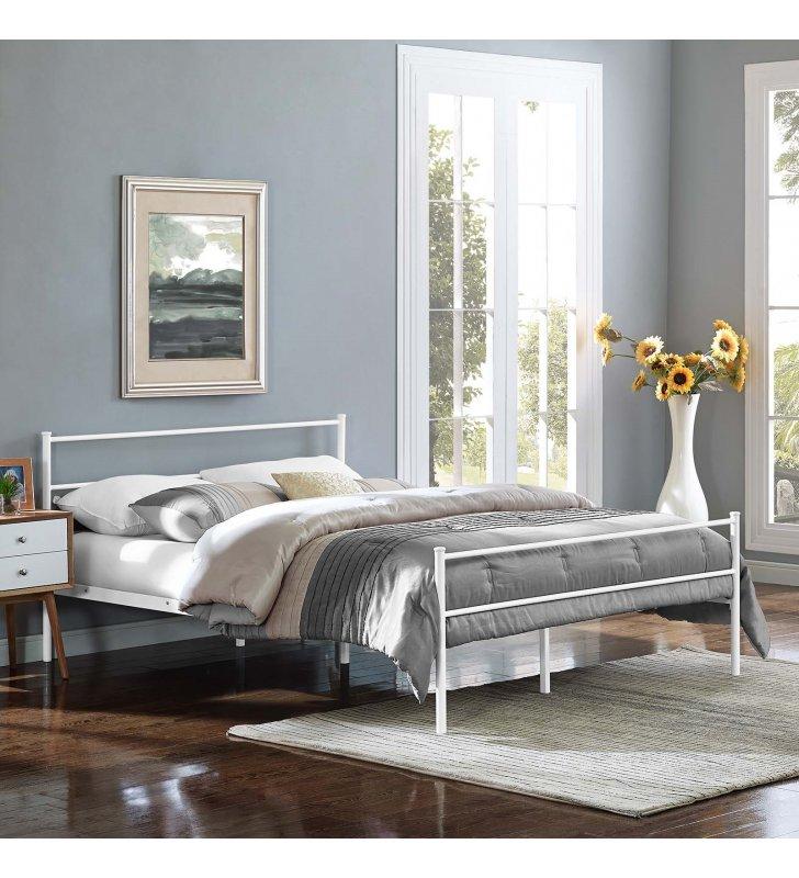 Alina Queen Platform Bed Frame in White - Lexmod