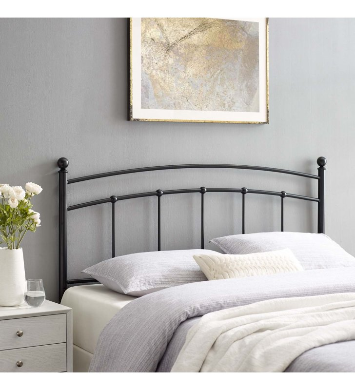 Abigail Queen Metal Headboard in Black - Lexmod