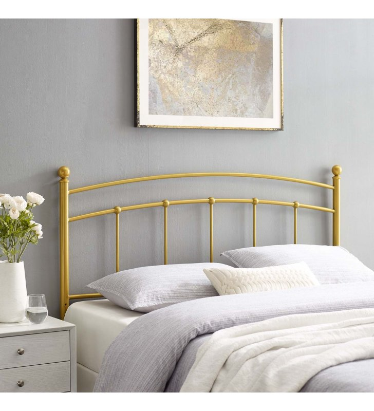 Abigail Queen Metal Headboard in Gold - Lexmod