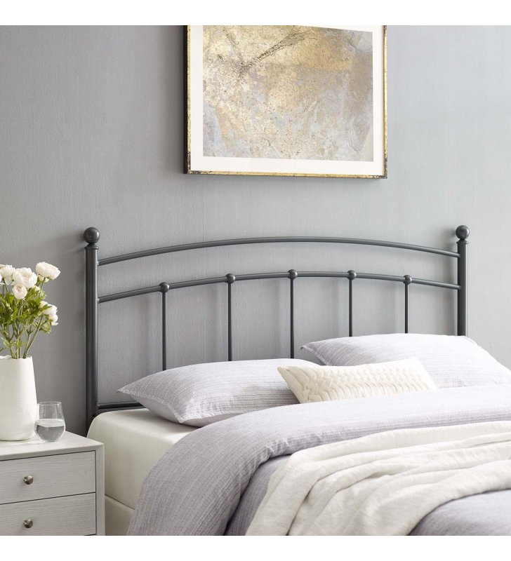Abigail Queen Metal Headboard in Gray - Lexmod