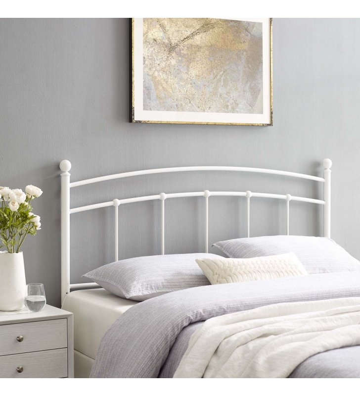 Abigail Queen Metal Headboard in White - Lexmod
