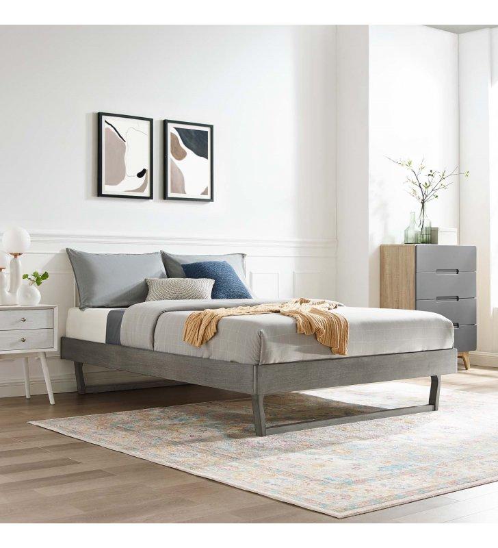 Billie Full Wood Platform Bed Frame in Gray - Lexmod