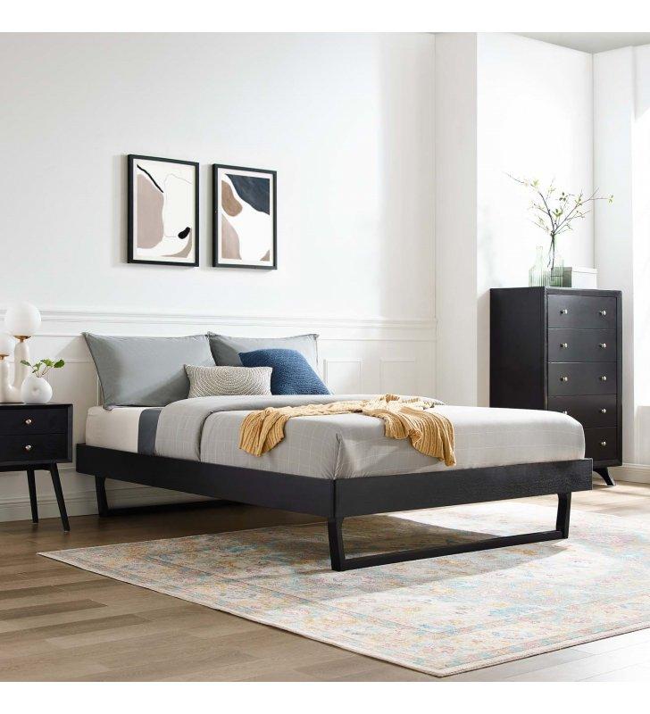 Billie King Wood Platform Bed Frame in Black - Lexmod