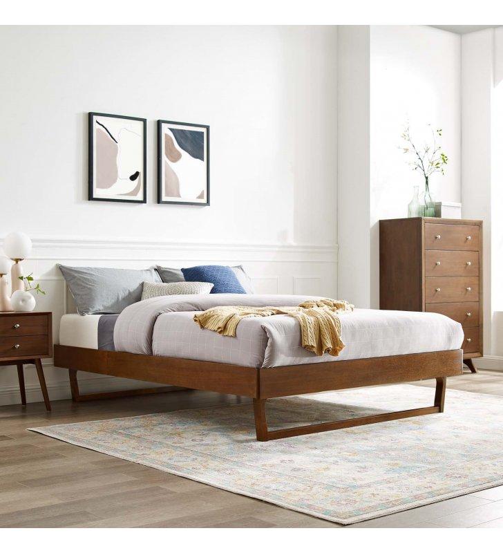 Billie King Wood Platform Bed Frame in Walnut - Lexmod