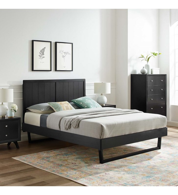 Alana Full Wood Platform Bed With Angular Frame in Black - Lexmod