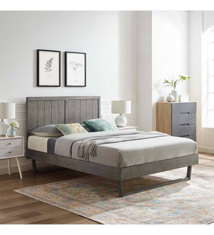 Alana Full Wood Platform Bed With Angular Frame in Gray - Lexmod