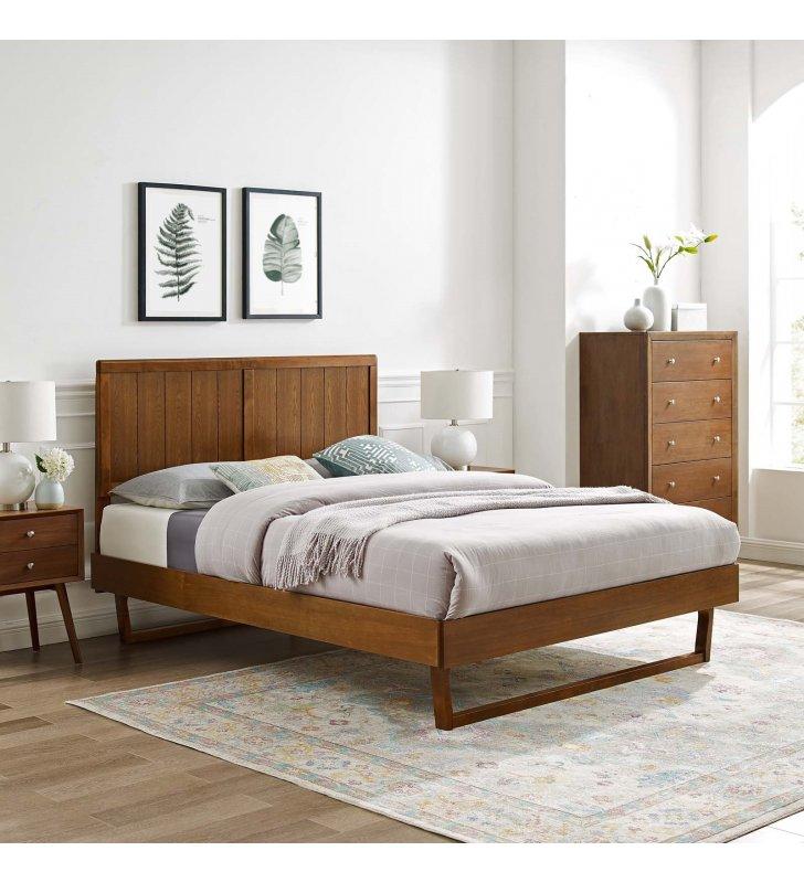 Alana Full Wood Platform Bed With Angular Frame in Walnut - Lexmod