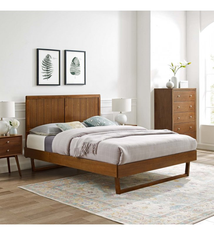 Alana King Wood Platform Bed With Angular Frame in Walnut - Lexmod