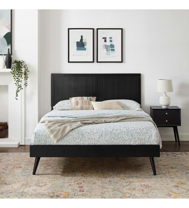 Alana Full Wood Platform Bed With Splayed Legs in Black - Lexmod