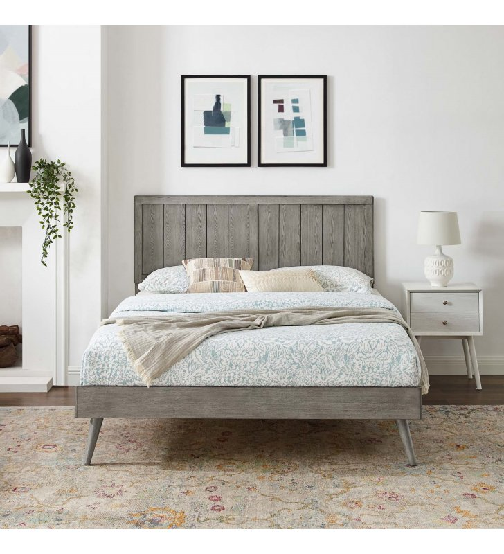 Alana Full Wood Platform Bed With Splayed Legs in Gray - Lexmod