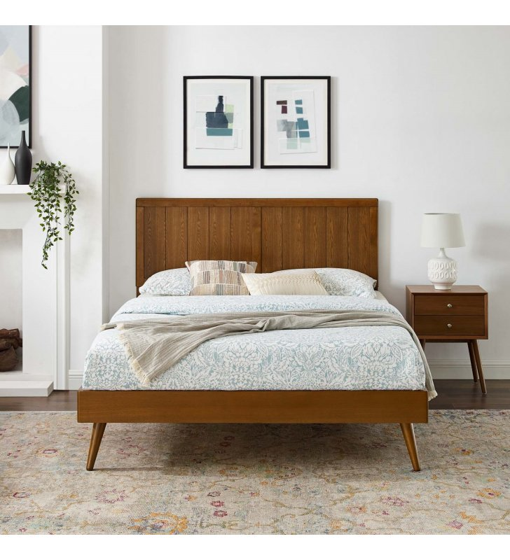 Alana Full Wood Platform Bed With Splayed Legs in Walnut - Lexmod